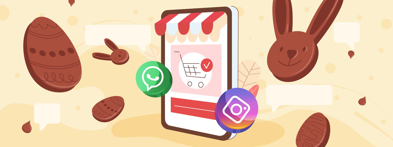 ilustração de celular com icones de whatsapp e instagram